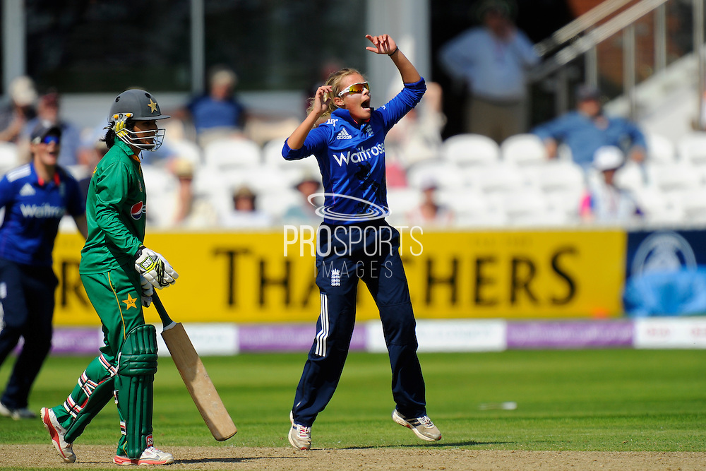England women's Alex Hartley during the Royal London ODI match between England Women Cricket and Pakistan Women Cricket at the Cooper Associates County Ground, Taunton, United Kingdom on 27 June 2016. Photo by Graham Hunt.