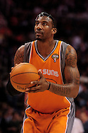 Mar. 26 2010; Phoenix, AZ, USA; Phoenix Suns forward Amare Stoudemire (1) shots a free throw in the second half at the US Airways Center.  The Suns defeated the Knicks 132-96.  Mandatory Credit: Jennifer Stewart-US PRESSWIRE.