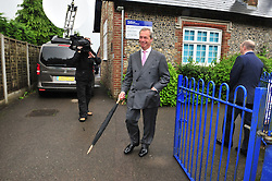 © Licensed to London News Pictures. 23/06/2016<br /> EU REFERENDUM POLLING DAY.  <br /> NIGEL FARAGE  AFTER HE HAS VOTED.<br /> Nigel Farage  UKIP Leader VOTING this morning <br /> (23.6.2016) at Cudham Primary School,Biggin Hill,Kent.<br /> <br /> <br /> <br /> (Byline:Grant Falvey/LNP)