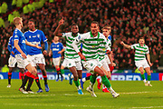 GOAL! - Christopher Jullien of Celtic FC celebrates his teams winning goal during the Betfred Scottish League Cup Final match between Rangers and Celtic at Hampden Park, Glasgow, United Kingdom on 8 December 2019.