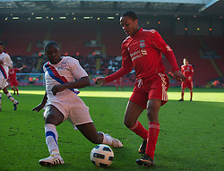 LIVERPOOL, ENGLAND - Saturday, January 8, 2011: Liverpool's Raheem Sterling in action against Crystal Palace's Aaron Akuruka during the FA Youth Cup 4th Round match at Anfield. (Pic by: David Rawcliffe/Propaganda)