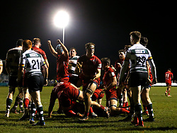 Ed Holmes of Bristol Rugby celebrates teammate Nick Fenton-Wells scoring a try - Mandatory by-line: Robbie Stephenson/JMP - 06/04/2018 - RUGBY - The Bay - Nottingham, England - Nottingham Rugby v Bristol Rugby - Greene King IPA Championship