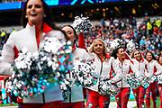 Tampa Bay Buccaneers cheerleaders during the International Series match between Tampa Bay Buccaneers and Carolina Panthers at Tottenham Hotspur Stadium, London, United Kingdom on 13 October 2019.