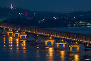 Mawlamyine Bridge after sunset, Myanmar