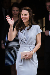 © Licensed to London News Pictures. 04/05/2016. LONDON, UK.  CATHERINE, DUCHESS OF CAMBRIDGE leaving a lunch reception at the Anna Freud Centre in Spencer House. Kate attends as patron and in support of the children's mental health<br /> charity's new centre of excellence.  Photo credit: Vickie Flores/LNP