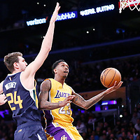 05 December 2016: Los Angeles Lakers guard Louis Williams (23) goes for the layup past Utah Jazz center Jeff Withey (24) during the Utah Jazz 107-101 victory over the Los Angeles Lakers, at the Staples Center, Los Angeles, California, USA.