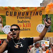 Hundreds march to Stop The Cubbing March is extremist cruel using dogs to savages the fox and raping the foxs apart in fact Fox Hunting been ban since 2005 but the hunting havent stop since the ban. UK law breaking UK law assembly at Cavendish Square on 3 August 2019, London, UK.