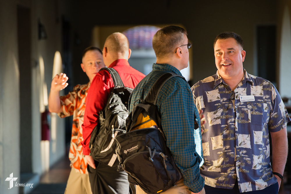 Chaplain Craig G. Muehler, director of the LCMS Ministry to the Armed Forces (right), chats with participants during  the 2015 West Coast Lutheran Chaplains Professional Development Seminar Tuesday, Jan. 27, 2015, at North Island Naval Air Station in San Diego, Calif. LCMS Communications/Erik M. Lunsford