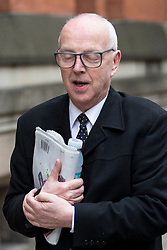 © Licensed to London News Pictures . 17/04/2014 . Manchester , UK . RAY TERET , Jimmy Savile 's former chauffeur and flatmate , arrives for a plea and case management hearing at Minshull Street Crown Court , Manchester , this morning (17th April 2014) . He is charged alongside William Harper and Alan Ledger with historic sex offences . Photo credit : Joel Goodman/LNP