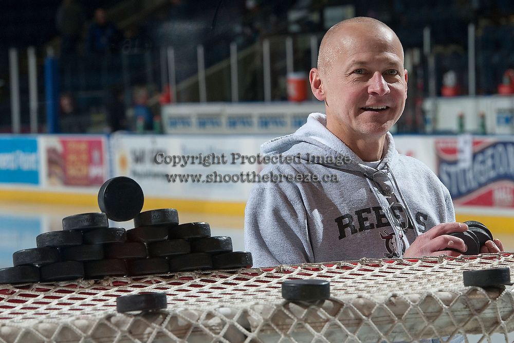 "KELOWNA, CANADA -FEBRUARY 5: Dave ""Radar"" Horning, equipment manager of the Red Deer Rebels stands on the ice at the Kelowna Rockets to remove the pucks from the net on February 5, 2014 at Prospera Place in Kelowna, British Columbia, Canada.   (Photo by Marissa Baecker/Getty Images)  *** Local Caption *** Dave ""Radar"" Horning;"