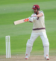 Somerset's James Hildreth cuts into the offside. - Photo mandatory by-line: Alex Davidson/JMP - Mobile: 07966 386802 - 22/08/15 - SPORT - CRICKET - LV County Championship Division One - Day Two - Somerset v Worcestershire - The County Ground, Taunton, England.