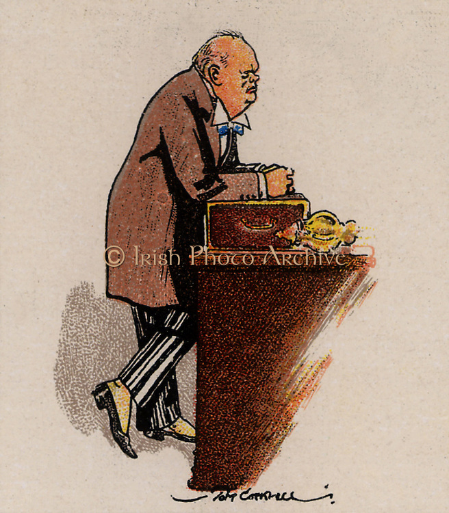 Winston Leonard Spencer Churchill (1874-1965), British Conservative statesman. Prime Minister 1040-1945 and 1951-1955. Awarded Nobel Prize for Literature, 1953.  Churchill shown at the dispatch box addressing the House of Commons. From a series of cards on 'Notable MPs' (London, 1929).