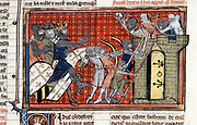Siege of a town led by Godefroy de Bouillon (c1060-1100) 1st Crusade (1095-1099), showing Saracens firing arrows at Crusaders as they attempt to scale the walls.  From manuscript of Roman de Godefroy de Bouillon.