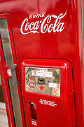 Old fashion coca cola machine at Billy Carter's gas station May 6, 2013 in Plains, Georgia.