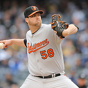 Ryan Webb, Baltimore Orioles, pitching during the New York Yankees V Baltimore Orioles home opening day at Yankee Stadium, The Bronx, New York. 7th April 2014. Photo Tim Clayton
