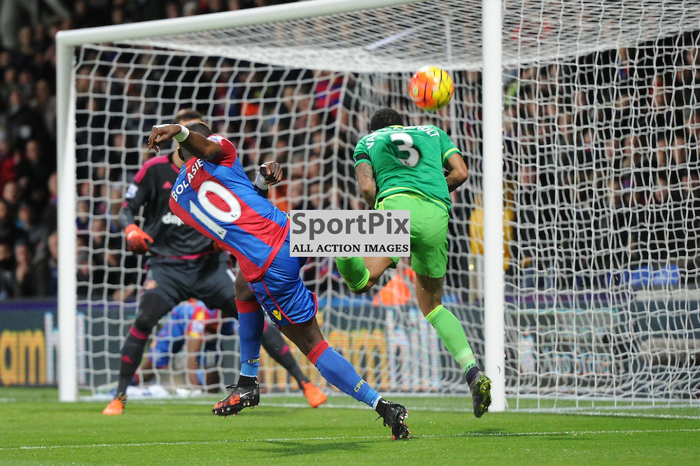 Crystal Palaces Yannick Bolasie gets a shot away during Crystal Palaces clash with Sunderland in the Barclays Premier League at Selhurst Park