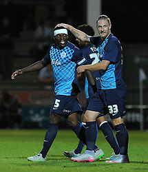 QPR's Nedum Onuoha celebrates his sides goal with QPR's Sebastian Polter - Photo mandatory by-line: Harry Trump/JMP - Mobile: 07966 386802 - 11/08/15 - SPORT - FOOTBALL - Capital One Cup - First Round - Yeovil Town v QPR - Huish Park, Yeovil, England.