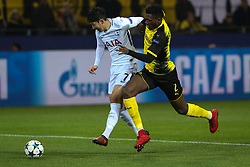 DORTMUND, Nov. 22, 2017  Dan-Axel Zagadou (R) of Borussia Dortmund vies with Son Heung-Min of Tottenham Hotspur during the UEFA Champions League group H match at Signal Iduna Park on Nov. 21, 2017 in Dortmund, Germany. Tottenham Hotspur won 2-1. (Credit Image: © Joachim Bywaletz/Xinhua via ZUMA Wire)