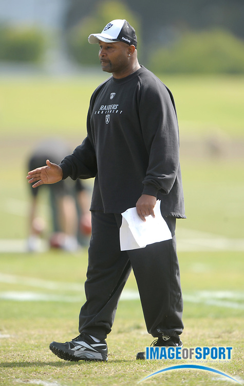 May 26, 2010; Alameda, CA, USA; Oakland Raiders defensive backs coach Kevin Ross at organized team activities at the Oakland Raiders practice facility.