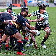 Action during the Hardham Cup Premier 2 (round 2) rugby union game played between Paremata-Plimmerton v OBU played at Ngati Toa Domain, Mana, Wellington, New Zealand, on 8 June 2019. Final score 63-7 to OBU.
