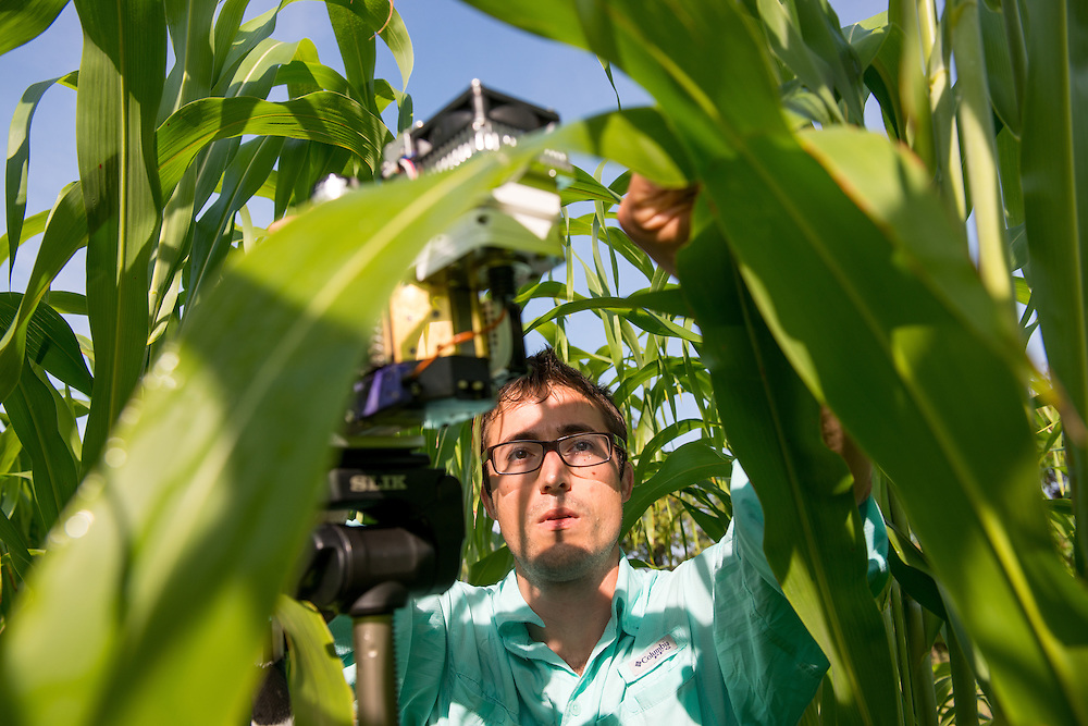 Nick Tomeo, Plant Biology Graduate Student, measures the photosynthesis of plants.