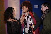 Gity Monsef, David Kappa ( Tula) and Tristram Webber. Zandra Rhodes- A Lifelong Affair with textiles.-Zandra Rhodes retrospective exhibition. Fashion and Textile museum. 1 February 2005. ONE TIME USE ONLY - DO NOT ARCHIVE  © Copyright Photograph by Dafydd Jones 66 Stockwell Park Rd. London SW9 0DA Tel 020 7733 0108 www.dafjones.com