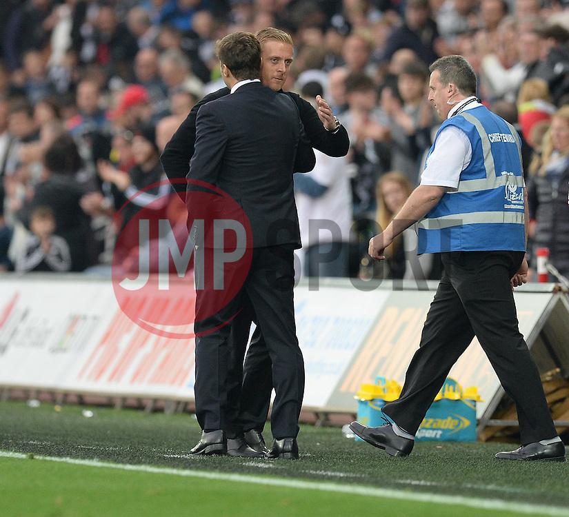 Swansea City Manager Garry Monk embraces Tottenham Hotspur Manager Mauricio Pochettino - Mandatory byline: Alex James/JMP - 07966 386802 - 04/10/2015 - FOOTBALL - Liberty stadium - Swansea, England - Swansea City  v Tottenham hotspur - Barclays Premier League