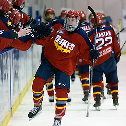 KINGSTON, ON  - FEB 22,  2018: Ontario Junior Hockey League game between the Kingston Voyageurs and the Wellington Dukes. Teddy McGeen #11 of the Wellington Dukes celebrates his goal with the bench during the third period.<br /> (Photo by Ian Dixon / OJHL Images)