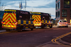 EMBARGO UNTILL 13:00 4th MARCH 2014<br /> South Yorkshire Police Officers set off in convoy from Main Street Police station in Rotherham to execute Warrants in Eastwood Rotherham early on Tuesday Morning<br /> <br /> 04 March 2014<br /> Image © Paul David Drabble <br /> <br /> www.pauldaviddrabble.co.uk