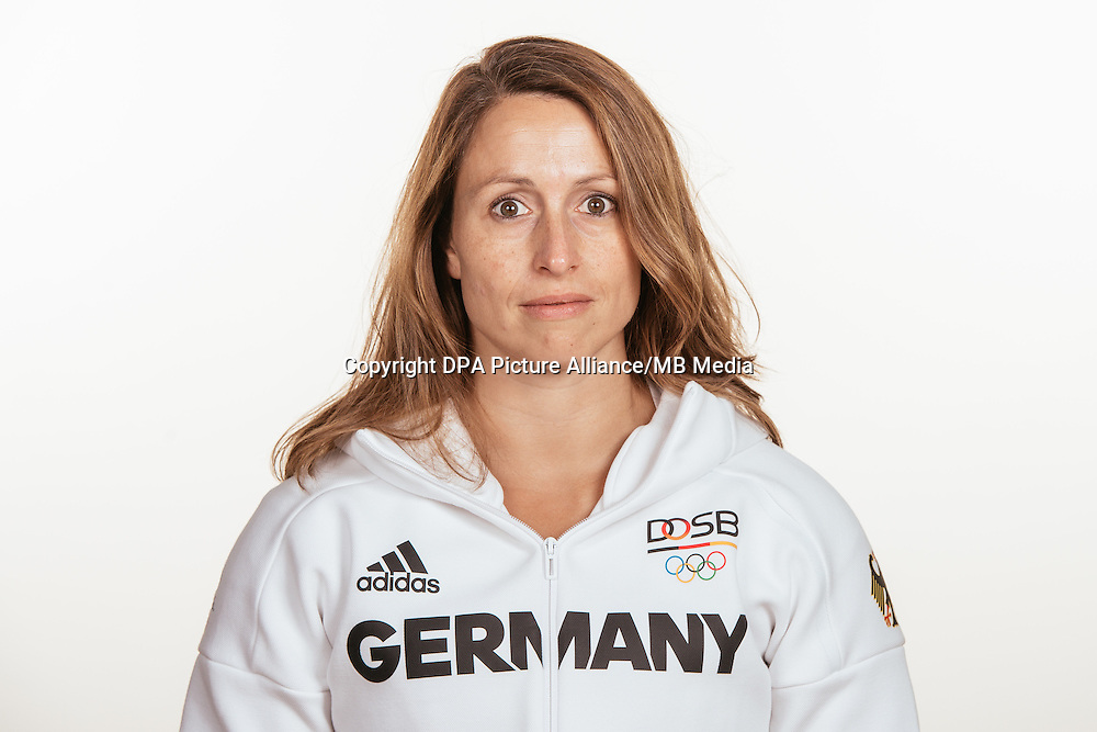 Kathrin Klaas poses at a photocall during the preparations for the Olympic Games in Rio at the Emmich Cambrai Barracks in Hanover, Germany, taken on 20/07/16 | usage worldwide