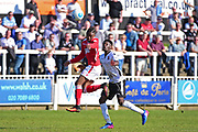 Wrexham Forward Iffy Allen heads upfield during the Vanarama National League match between Bromley FC and Wrexham FC at Hayes Lane, Bromley, United Kingdom on 8 April 2017. Photo by Jon Bromley.