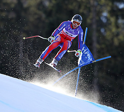 10.02.2011, Kandahar, Garmisch Partenkirchen, GER, FIS Alpin Ski WM 2011, GAP, Herren Abfahrtstraining, im Bild TJ Baldwin (GBR) takes to the air competing in the first men's downhill training run on the Kandahar race piste at the 2011 Alpine skiing World Championships, EXPA Pictures © 2011, PhotoCredit: EXPA/ M. Gunn