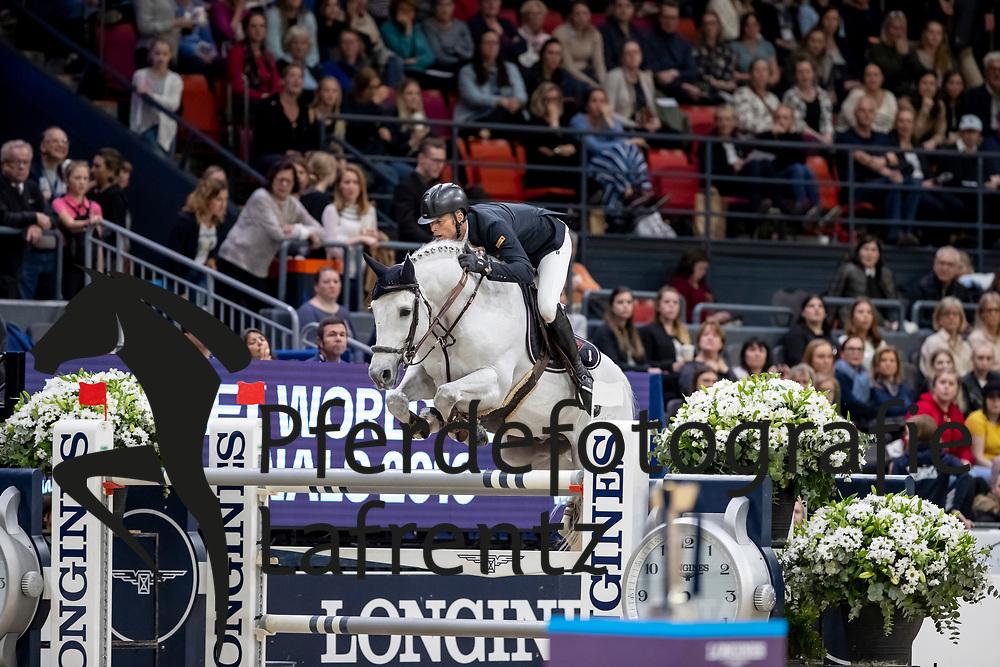 FUCHS Martin (SUI), Clooney 51<br /> Göteborg - Gothenburg Horse Show 2019 <br /> Longines FEI World Cup™ Final II - Jump-Off/Stechen<br /> Int. jumping competition with jump-off (1.50 - 1.60 m)<br /> Longines FEI Jumping World Cup™ Final and FEI Dressage World Cup™ Final<br /> 05. April 2019<br /> © www.sportfotos-lafrentz.de/Stefan Lafrentz