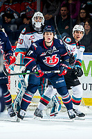 KELOWNA, BC - MARCH 7: Roman Basran #30 defends the net while Devin Steffler #4 of the Kelowna Rockets back cheks Dino Kambeitz #11 of the Lethbridge Hurricanes as he awaits a pass during first period at Prospera Place on March 7, 2020 in Kelowna, Canada. (Photo by Marissa Baecker/Shoot the Breeze)