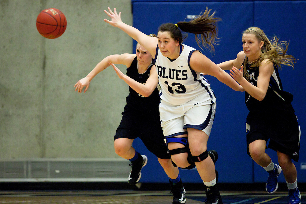 VICTORIA, B.C. Canada - March 1, 2013 - Vancouver Island University Mariners win the pac west women's provincial basketball championships beating the Blues from Capilano. (Kevin Light).
