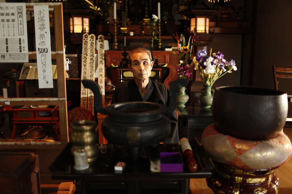 Tokuo Hayakawa   Anti Nuclear Monk at his family temple. in  Naraha Japan