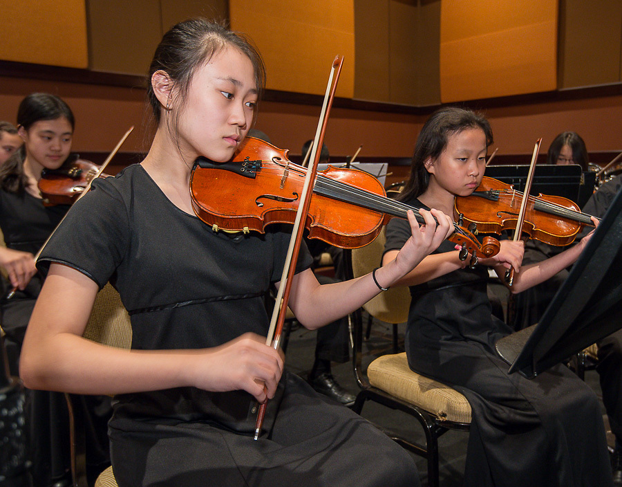 The Lanier Middle School Symphony Orchestra performs during the Houston ISD State of the Schools luncheon at the Hilton of the Americas, February 26, 2014.