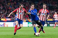 Atletico de Madrid Diego Godin and Gabi Fernandez and FC Copenhague Pieros Sotiriou during Europa League match between Atletico de Madrid and FC Copenhague at Wanda Metropolitano in Madrid , Spain. February 22, 2018. (ALTERPHOTOS/Borja B.Hojas)