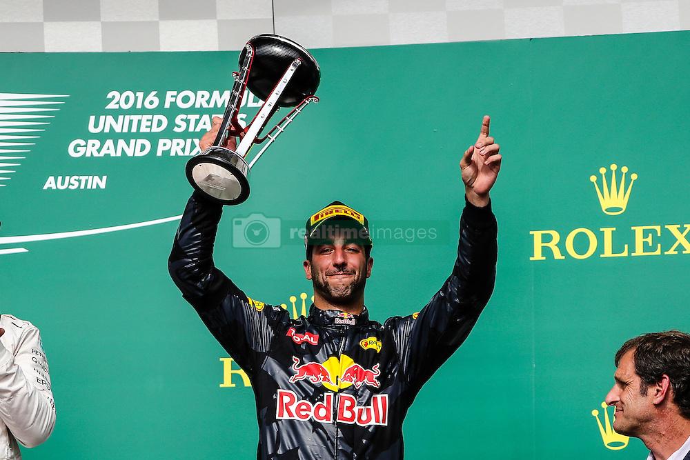 October 23, 2016 - Austin, Texas, U.S - Red Bull Racing driver Daniel Ricciardo (3) of Australia stands on the podium after the US Grand Prix race at the Circuit of the Americas race track in Austin,Texas. (Credit Image: © Dan Wozniak via ZUMA Wire)