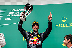 October 23, 2016 - Austin, Texas, U.S - Red Bull Racing driver Daniel Ricciardo (3) of Australia stands on the podium after the US Grand Prix race at the Circuit of the Americas race track in Austin,Texas. (Credit Image: © Dan Wozniak via ZUMA Wire)
