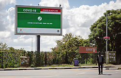 JOHANNESBURG, April 15, 2020  A message of COVID-19 Hotline is shown on an electronic screen in Johannesburg, South Africa, April 15, 2020. The total number of confirmed COVID-19 cases in South Africa has risen to 2,415, Health Minister Zweli Mkhize said on Tuesday. (Photo by Yeshiel/Xinhua) (Credit Image: © Xinhua via ZUMA Wire)