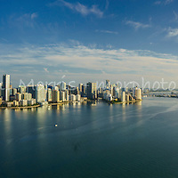 This version is watermarked, contact us for a license and clean version. Wide angle aerial panorama of the Miami Skyline, from the east looking over Biscayne Bay, featuring the Brickell waterfront.