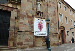 Germany, Freiburg - May 13, 2019.MARIA 2.0.Banner reading: 'against abuse and exclusion of women in the catholic church' next to a church (Credit Image: © Antonio Pisacreta/Ropi via ZUMA Press)