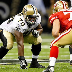 August 12, 2011; New Orleans, LA, USA; New Orleans Saints guard Roger Allen (70) during the second half of a preseason game against the San Francisco 49ers at the Louisiana Superdome. The New Orleans Saints defeated the San Francisco 49ers Mandatory Credit: Derick E. Hingle