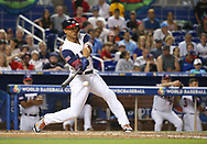 March 12, 2017 - Miami, FL, USA - United States right fielder Giancarlo Stanton grounds out during the second inning of a World Baseball Classic first round Pool C game against Canada on Sunday, March 12, 2017 at Marlins Park in Miami, Fla. (Credit Image: © David Santiago/TNS via ZUMA Wire)