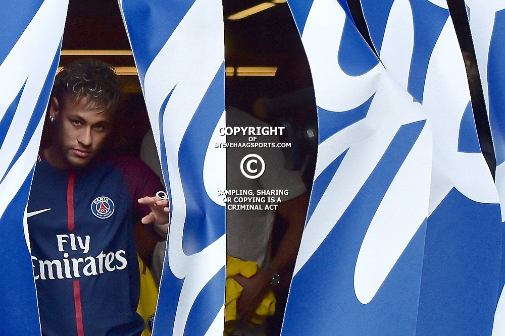 Neymar  during a press conference at the Parc des Princes, following his world record breaking &Acirc;&pound;200million transfer from FC Barcelona to Paris Saint Germain. <br /> August 4, 2017 in Paris, France. <br /> Photo by MPP / Visual /Icon Sport