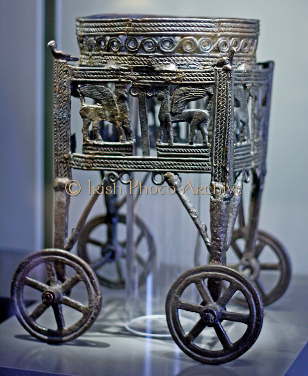 Wheeled bronze wagon built for a cauldron 12-11 th century BC from Larnaka Cyprus, Greek.