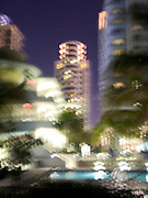 Hotels and swimming pool by night Miami Beach USA