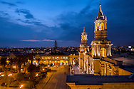 South America; Peru; Arequipa;main square at night