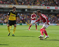 Nottingham Forest's Radoslaw Majewski is watched by Watford's Gabriele Angella  - Photo mandatory by-line: Nigel Pitts-Drake/JMP - Tel: Mobile: 07966 386802 25/08/2013 - SPORT - FOOTBALL -Vicarage Road Stadium - Watford -  Watford v Nottingham Forest - Sky Bet Championship